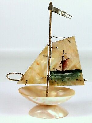 Antique Vtg Hand Painted Mother of Pearl MOP Salt Cellar Caviar Dish Ship Boat