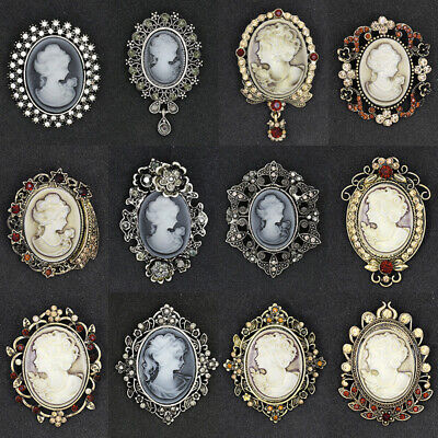 Vintage Cameo Crystal Brooch Pins Victorian Style Bridal Wedding Party Jewelry