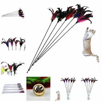 Funny Kitten Cat Pet Play Long Teaser Wand Interactive Toy Pet Feather Bell New
