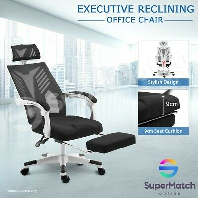 High Back Executive Office Chair Mesh Computer Work Chair w/ Footrest Black