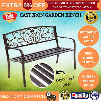 Vintage Look Wrought Iron Style Patio Garden Seat Park Bench Outdoor Bronze New