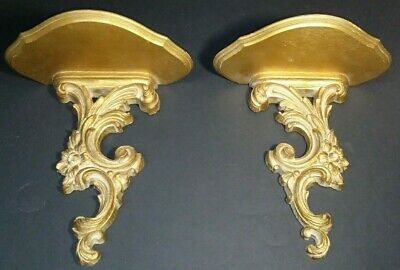 Matching Pair Vintage Syroco Wood Wall Shelves 10 inches Tall