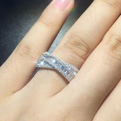 Multilayer Cross Simulated Diamond Ring Princess Party Couple Ring size 8