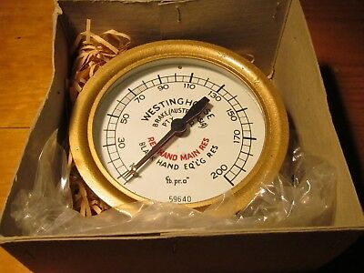 "Westinghouse Brake [Aust] 6"" Brass Duplex PSI Air Pressure Gauge, Pre 1970 era"