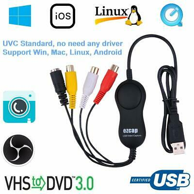 USB2.0 UVC Game Capture Audio Video Recording Card VHS V8 Hi8 Camcorder EZCAP158