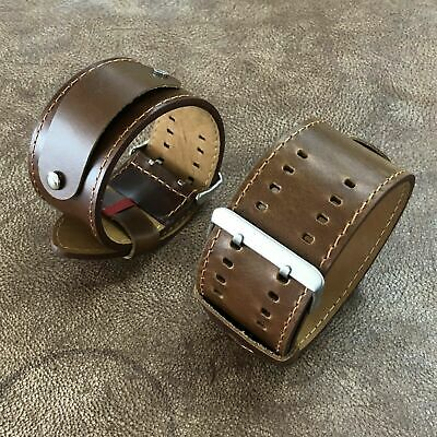 Size 17/18/19/20/21/22mm Vintage Oil Brown Leather Cuff Watch Strap Band#104