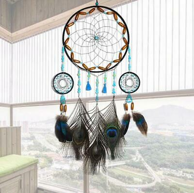 Boho Dream Catcher Peacock Feather Kit DIY Wall Hanging Dreamcatcher Room Decor