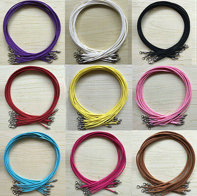 10/100Pcs Suede Leather Cord Charms Necklace With Lobster Clasp Jewelry Making