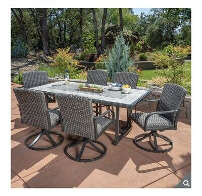 Fine Drexel 7 Piece Woven Dining Set With Cover 6 Padded Woven Creativecarmelina Interior Chair Design Creativecarmelinacom