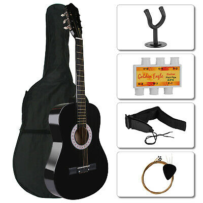 39'' 3/4 Size Acoustic Guitar With Guitar Case, Strap, Tuner and Strings+Hanger
