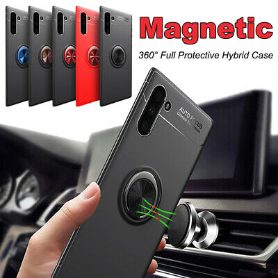 Case For Samsung Galaxy S10 S9 S8 S7 Hybrid Magnetic Ring Holder TPU+Metal Cover