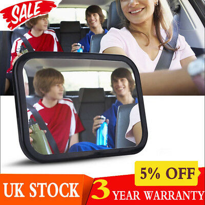 Large Wide Easy View Rear Back Baby Child Car Seat Safety Mirror Headrest Mount