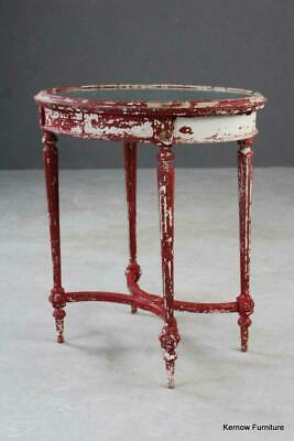 Antique French Shabby Chic Louis XVI Style Oval Side Table