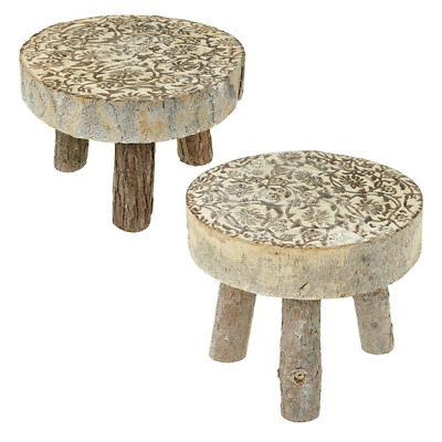 Heaven Sends Set 2 Rustic Wood Wooden Disc Stool Nesting Side Table Lamp Stand