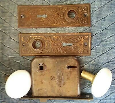 Antique Victorian Eastlake Branford Brass Porcelain Door Knob Lock Plate Set 003
