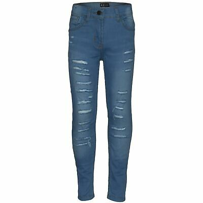 Kids Girls Stretchy Jeans Light Blue Denim Ripped Faded Skinny Pants Jeggings