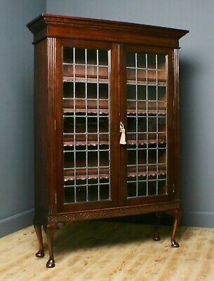 Attractive Large Antique Victorian Oak Floor Bookcase Cabinet, Lead Glazed Doors