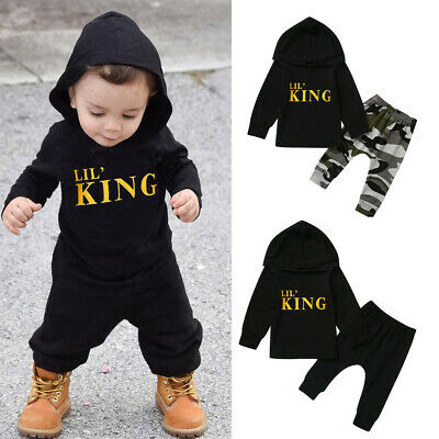 Toddler Kids Baby Boy Letter Hoodie T Shirt Tops+ Camo Pants Outfits Clothes