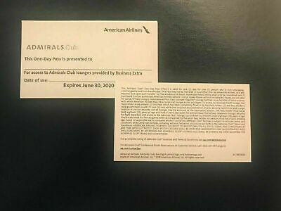 Two American Airlines Admirals Club One Day Passes - Expiration Date 6-30-2020