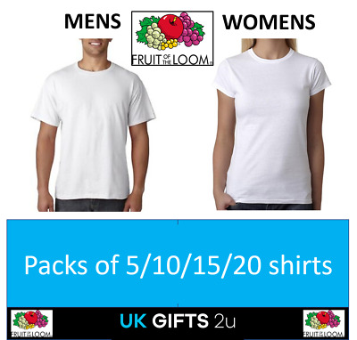 Fruit of the loom cheap white t-shirts shirt 100% Cotton lot 1/3/5/10/20 pack