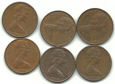 Very Nice Lot 6 New Zealand 2 Cents-1966,1967,1971,1973,1974,1981-Sep793