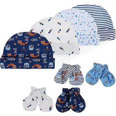 Lictin Newborn Baby Cotton Caps Mittens - 100% Cotton 4pcs Baby Cotton Caps Hats