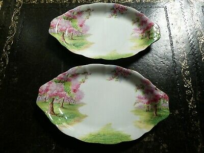Pair Of Vintage Royal Albert Blossom Time Oval Serving/Snack Dishes 1st Quality