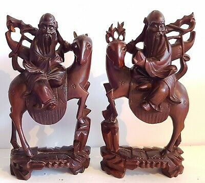 2 Antique Carved Chinese Immortals Riding Deer