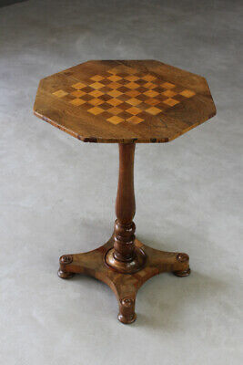 Antique Rosewood Games Side Occasional Lamp Table