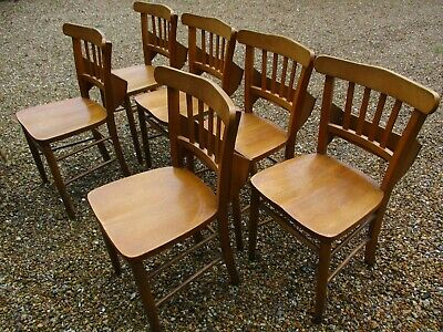 6 CHURCH / CHAPEL CHAIRS WITH BOOK HOLDERS. Delivery possible. DINING CHAIRS.