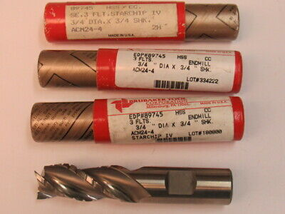 Lot Of Three - 3/4 - Three Flute - Roughing/Finishing End Mill - 1-5/8 Loc - Usa