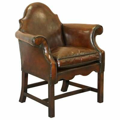 Fully Restored Tobacco Brown Leather Hump Back Regency Armchair Mahogany Frame