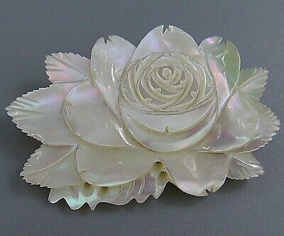 HIGH END Vintage Jewelry Carved Mother of Pearl Flower BROOCH PIN Rhinestone LoM