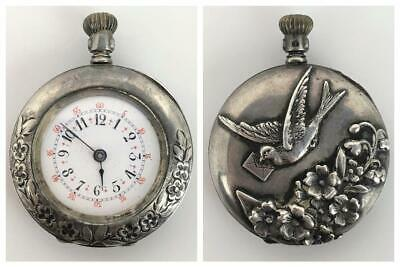 Antique Victorian DUCHESS 67121 Sterling Silver Ladies Repousse Pocket Watch Fob