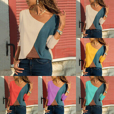 Plus Size Women Colour Block Long Sleeve T-shirt Ladies Casual Loose Blouse Tops