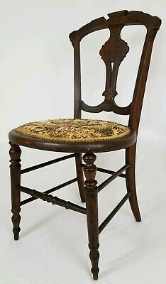 Antique Carved Walnut Eastlake Victorian Dining Accent Chair With Tapestry Seat
