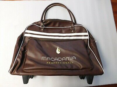 Large Professional Macadamia Makeup Carry Case on Wheels Genuine Brown Leather