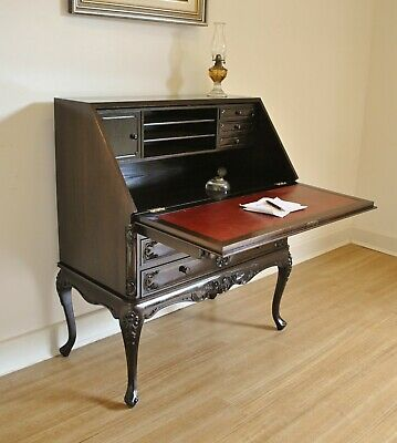 French Provincial Style Carved Mahogany Bureau / Drop Front Desk / Secretaire.