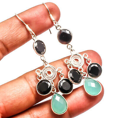 """Faceted Green Chalcedony Black Onyx 925 Silver Overlay Earring Jewelry Sz 2.81"""""""