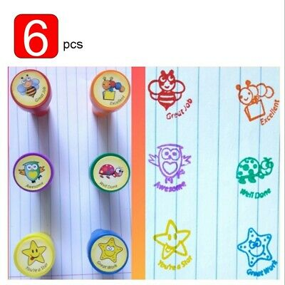 6 x block colours bright Ink Animal Stamps for teachers parents children reward