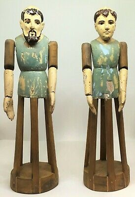 C. 19th Century Pair of Hand Carved Wooden and Painted Santos Cage Dolls