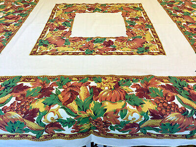 "2 Thanksgiving Tablecloths Pumpkins Fruit Fall Harvest, 1 sm square, 1 82"" long."