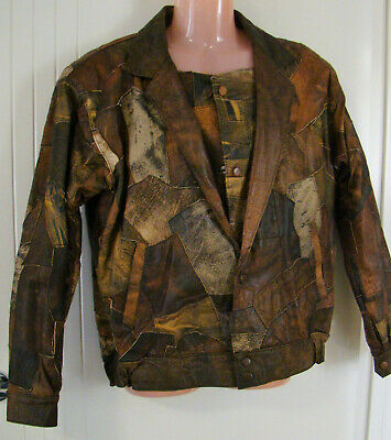 """""""Billy Pollo"""" Brown & grey leather bomber jacket - patchwork - lined - Size M"""