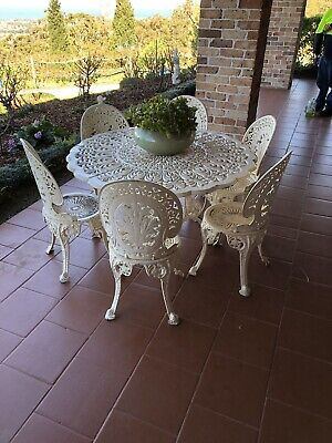 Vintage Wrought Iron Outdoor Table and Chairs
