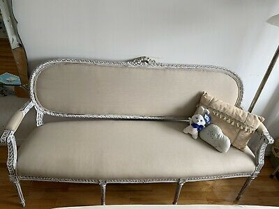 French Louis XV Style Vintage Painted Frame Settee Loveseat