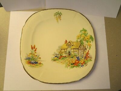 """Vintage Alfred Meakin Royal Marigold 8"""" square Plate w/House, Gold Rim"""