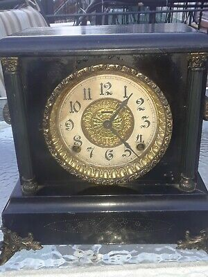 Antique E. Ingraham Black 8 day gong striking mantle clock