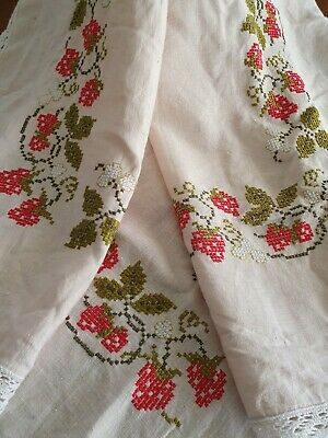 """Vintage Linen Hand Embroidered Cross Stitch Tablecloth /Suppercloth """"Strawberry"""""""