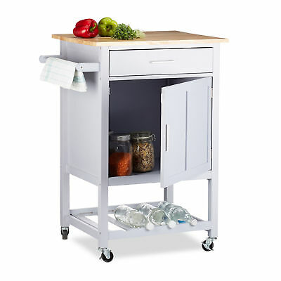 Kitchen Cart with Wine Rack, Wooden Serving Trolley On Casters with Drawer