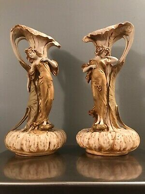 Antique Pair Ernest Wahliss Royal Vienna Ewer Vase Form Calalilly and Maiden